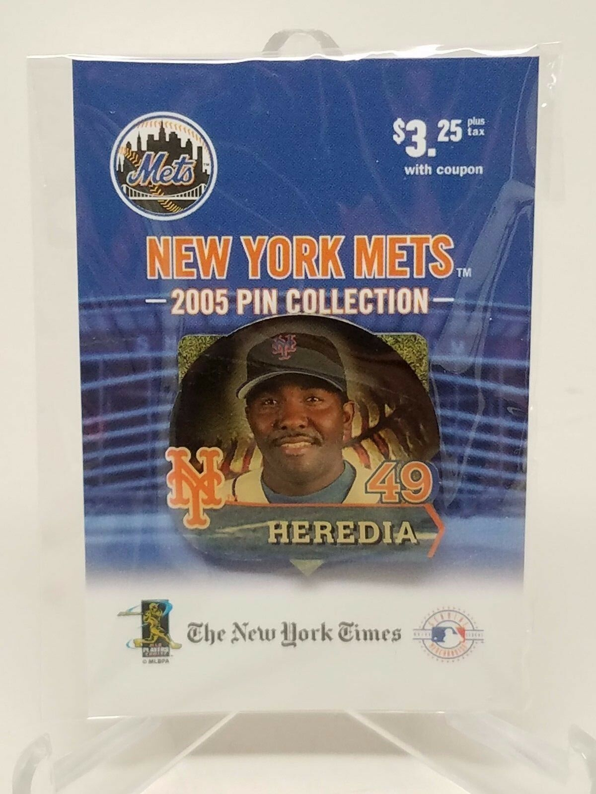 New York Mets Felix Heredia #49 Pin from NY TIMES 2005 Pin Collection New!