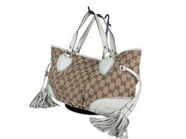 Authentic GUCCI GG Pattern Canvas Leather Browns Tote Bag GS1980 - $329.00