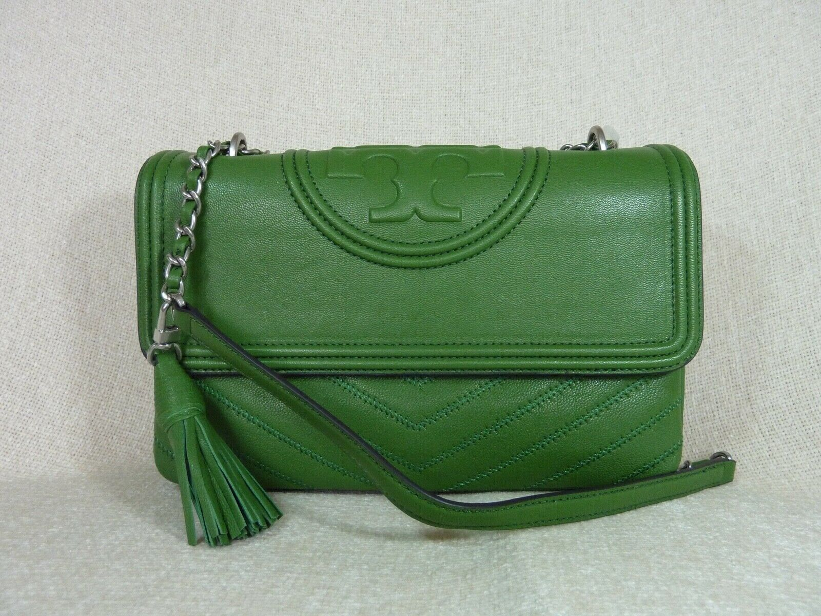 NWT Tory Burch Watercress Green Leather Fleming Convertible Shoulder Bag