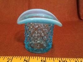 Vintage Fenton Blue Opalescent Hobnail Top Hat Toothpick/Match Holder - $9.85