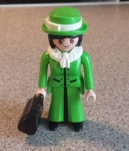 Playmobil Western Green Dress Dame Figure with Black Handbag Cowboys Wil... - $4.01