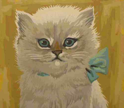"""Beautful Vintage 8 1/2"""" X 11 1/2"""" Paint By Number Cat Picture In Frame"""