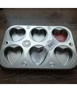 Muffin Cupcake Pan, 6 Cavity Heart Shaped Metal - $17.70