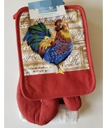 Red Rooster Kitchen Set 5pc Towels Potholders Mitt Chanticleer French Co... - $18.99