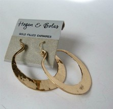 Vintage Hogan Bolas Gold Filled Hand Hammered Hoop Earrings Wires On Card - $39.59
