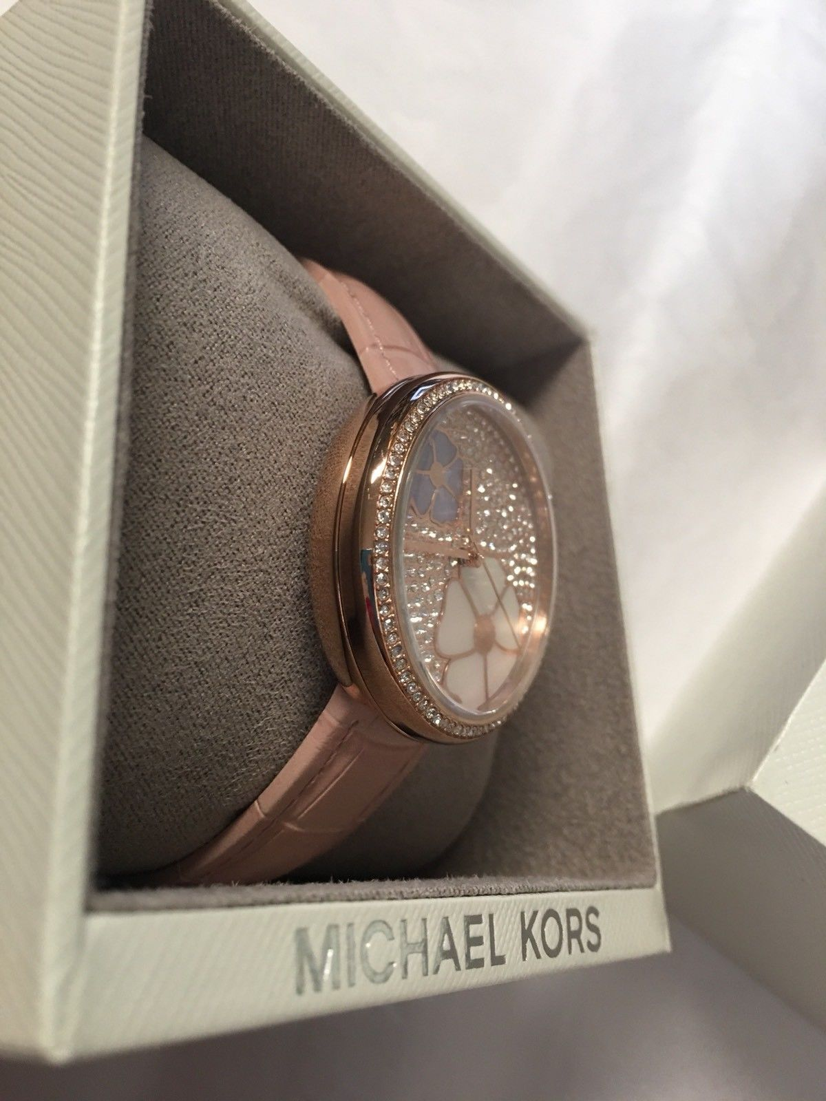 f087a61d0446 Michael Kors Women Courtney Rose Gold-Tone and Blush Croco Leather Watch  MK2718
