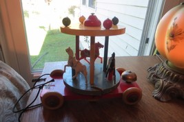 vintage BRIO Carousel with 3 horses wooden old pull toy with bell,made i... - $80.75