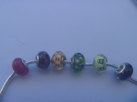 6 charms lampwork murano glass pandora style 925 silver FREE POSTAGE WORLD - $6.93