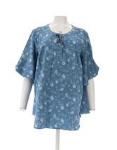 Isaac Mizrahi TRUE DENIM Floral Print Lace-Up Blouse Light Indigo S NEW ... - $23.74