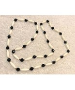 Necklace Jewelry Black White Beads With Gold Color Spacers 34 Inch - $8.33