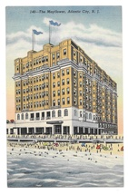 New Jersey The Mayflower Hotel and Beach Atlantic City Curteich Linen Po... - $4.99