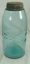 BALL 3L BLUE GREEN 1/2 HALF GALLON MASON FRUIT CANNING JAR NO. 11 WITH L... - $18.99