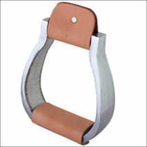 Hilason Aluminium Bell Horse Saddle Stirrups With Leather Foot Grip U-2129 - $54.40