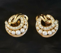 Vintage Designer Signed Crown Trifari Gold Tone & Faux Pearl Clip Earrings - $14.84