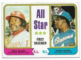 1974 Topps #332 All Star First Basemen, Hank Aaron and Allen, Atlanta Br... - $1.70