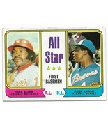 1974 Topps #332 All Star First Basemen, Hank Aaron and Allen, Atlanta Br... - $1.70