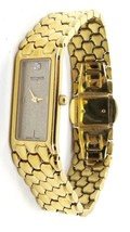 Wittnauer Diamond Gold Plated Rectangle Dial Watch for Women 6 1/2 Inches Swiss - $142.35