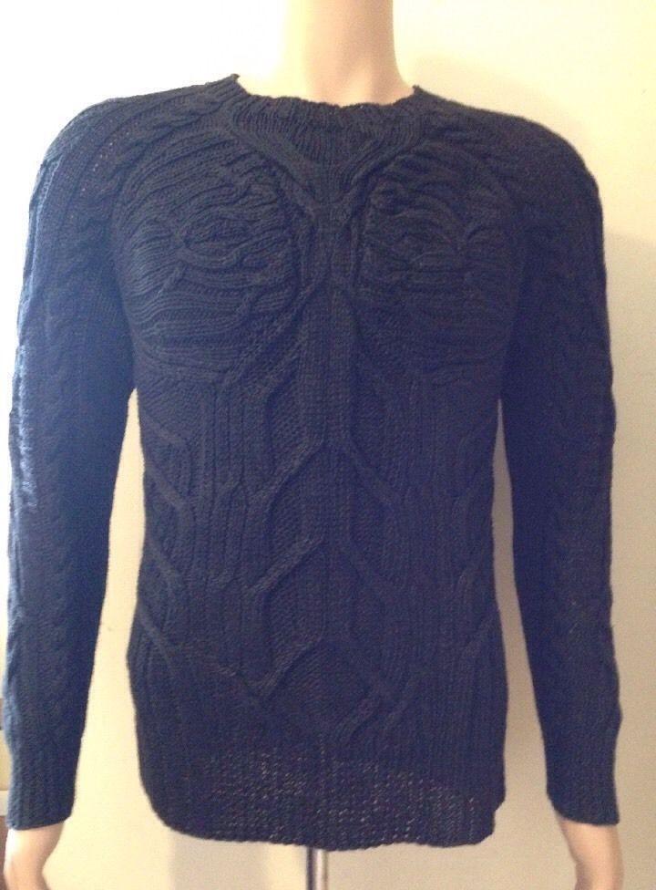 RALPH LAUREN UOMO ETICHETTA NERA lavorato a maglia lino maglione taglia media