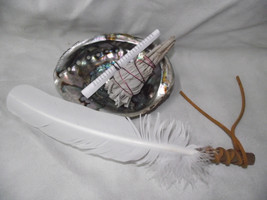 ABALONE SHELL SAGE WHITE 4 PIECE SMUDGING KIT & FEATHER SHAMAN SMUDGING - $40.00