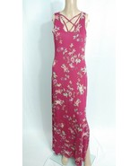 NWT Modcloth Pink Rose Burgundy Red Pink Poppy Floral Cut Out Maxi Sundr... - $14.03