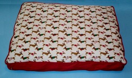 "Christmas Dachshund Dogs in Holiday Costumes Dog Bed 27"" x 36"" x 4"" - $40.00"