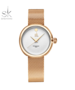 SK® New Fashion Ladies Quartz Watches Top Brand Stainless Steel Mesh Belt - $21.35