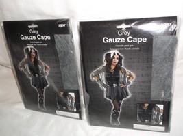 2 GREY GAUZE CAPE ADULT HALLOWEEN COSTUME PROP SET zombie witch goth pun... - $6.78