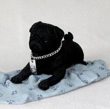 PUG (BLACK)  MY  DOG  Figurine Statue Pet Lovers Gift Resin Hand Painted - $26.50