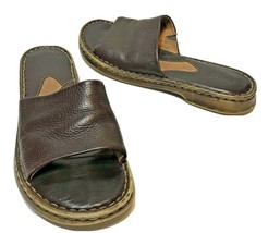 Born Womens Brown Leather Slide Open Toe Sandals Size 10 US 42 EUR - $19.53