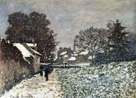 Snow at Argenteuil by Monet - 24x32 inch Canvas Wall Art Home Decor - $51.99
