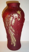 "Fenton Glass Ruby Red Satin Gold HP 12.5"" Parrot Vase NFGS Exclusive 2011 - $242.02"