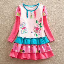 NEW Girls Pink Butterfly Flower Long Sleeve Ruffle Dress 4-5 - $10.88