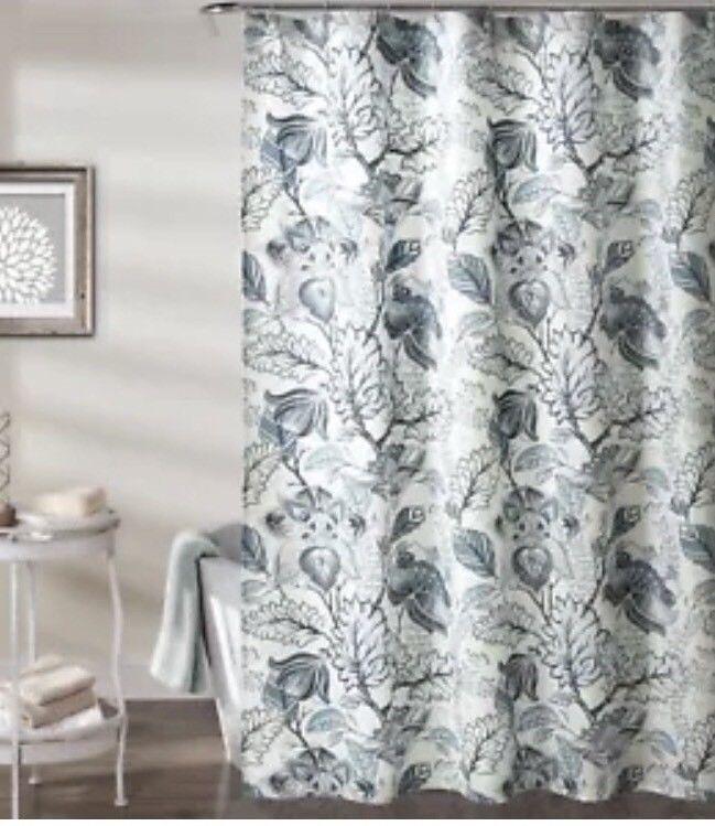 Lush Decor Cynthia Jacobean Shower Curtain 72 X Dusty Blue