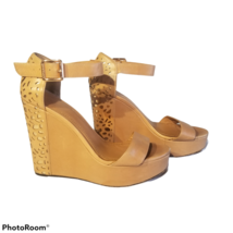 Vince Camuto Tan Leather Open Toe Wedge Sandals Sakina Gold Cutout Size 8 - $21.79