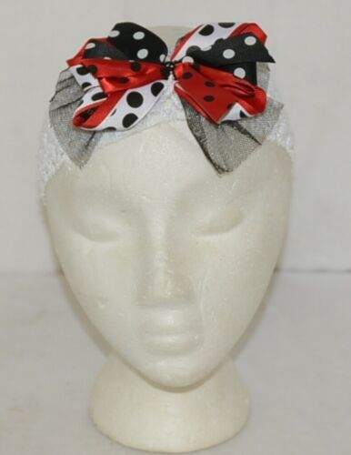 Unbranded White Headband Large Polka Dot Bow Red White and Black