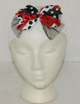 Unbranded White Headband Large Polka Dot Bow Red White and Black image 1