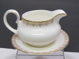 Royal Doulton Gold Lace Gravy Sauce Boat with Underplate - $59.40