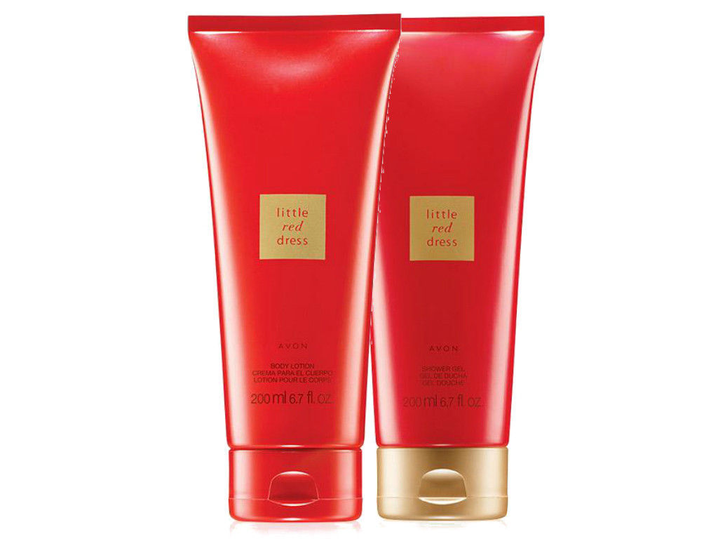 Avon Little Red Dress 6.7 Fluid Ounces Body Lotion + Shower Gel Duo Set