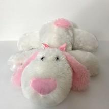 "Dan Dee Floppy Puppy Dog Plush White Pink Ribbon Bow 17"" Long Valentines... - $38.49"
