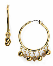 LAUREN RALPH LAUREN 'Beaded Delight' Textured Bead Gold-Tone Hoop Earrings - $20.88