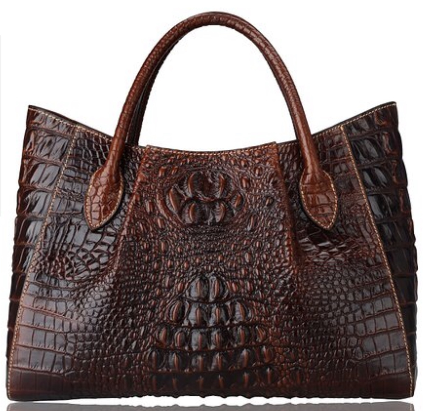New Italian Leather Crocodile Embossed Luxury Tote Handbag Satchel 1629