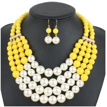 Shineland Elegant Handmade Multilayer Faux Pearl Bead Cluster Collar Bib... - $33.37