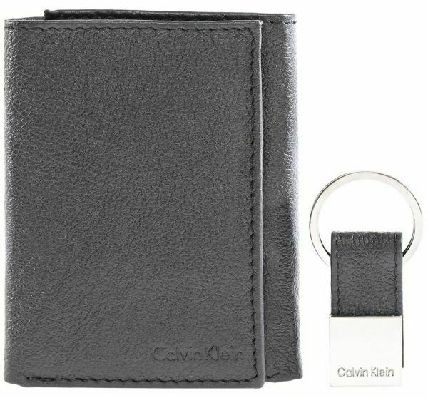 Calvin Klein Ck Men's Leather Trifold Wallet Key Fob Credit Card ID Set 79321