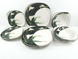 12 Sango Quadrille Black Lilies Vintage Square Dinner Salad Plates Soup ... - $128.37