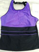 Womens Size 10 Speedo Swim Top Purple Black Mesh Panel - $14.54