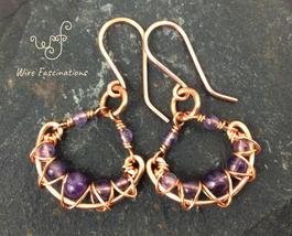 Handmade amethyst earrings: criss cross copper wire wrapped chandelier - $33.00