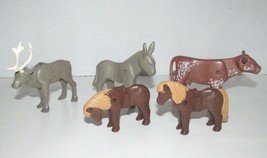 Playmobil animal lot donkey pony bull steer moose or reindeer lot - $11.57