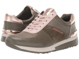 Michael Kors MK Women's Allie Trainer Leather Canvas Sneakers Shoes Olive