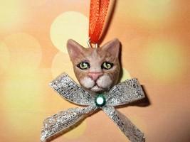 TABBY CAT CHARM Ooak Halloween Mini Tree Ornament black pet holiday oran... - €5,05 EUR