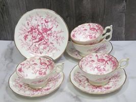 Set of 4 Coalport Cairo Pink Cups and Saucers - $49.50